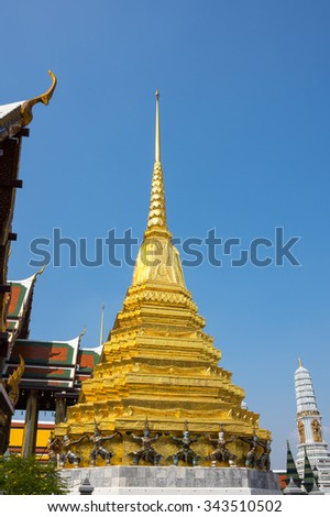 Wat Phra Kaew is one of the most popular tourists destination in Thailand - stock photo