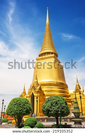 Wat Phra Kaew, Temple of the Emerald Buddha. The Grand Palace Bangkok. Thailand - stock photo