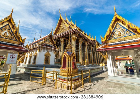 Wat Phra Kaew, Temple of the Emerald Buddha with blue sky Bangkok,Thailand - stock photo
