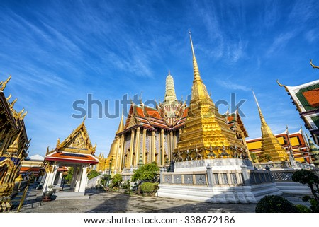 Wat Phra Kaew, Temple of the Emerald Buddha with blue sky, Bangkok, Thailand - stock photo