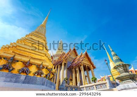 Wat Phra Kaew - the Temple of Emerald Buddha in Bangkok, Thailand   - stock photo