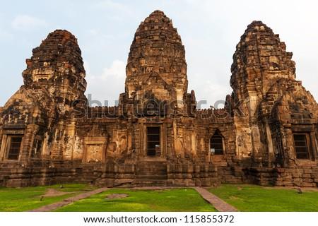 Wat Phra Prang Sam Yot temple in Lopburi, Thailand - stock photo