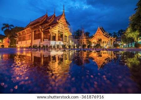Wat phra singh temple twilight time in Chiang mai Thailand - stock photo