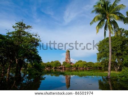 Wat praram temple flood in Ayuttaya, Thailand - stock photo