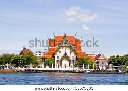 Wat Rakang (Bell Temple), Thai Temple on the River, Bangkok Thailand - stock photo