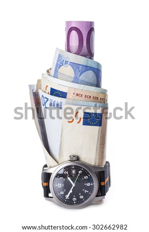 Watch and banknotes isolated on white background showing the concept of time is money