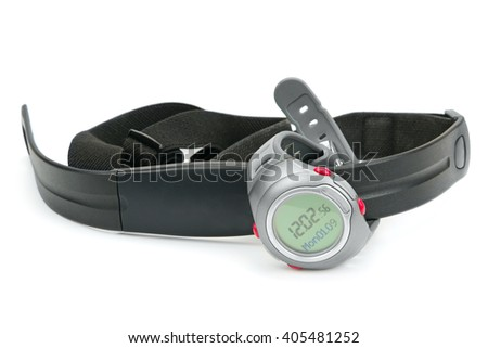 watch and chest strap of heart rate monitor isolated on white - stock photo