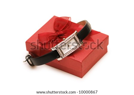 Watch and red giftbox isolated on the white