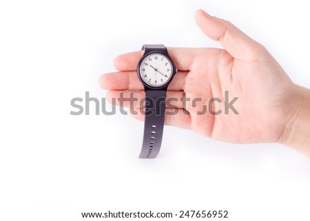 Watch, Hand holding a wrist watches over white background