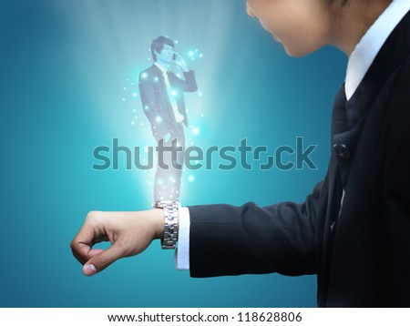 Watch hologram - stock photo
