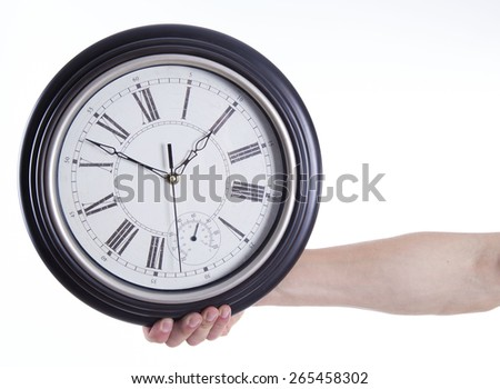 watch in hand on white background - stock photo