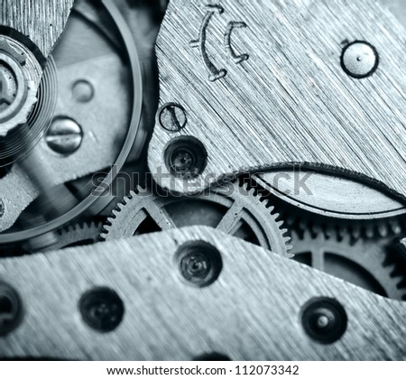 watch mechanism very close up - stock photo