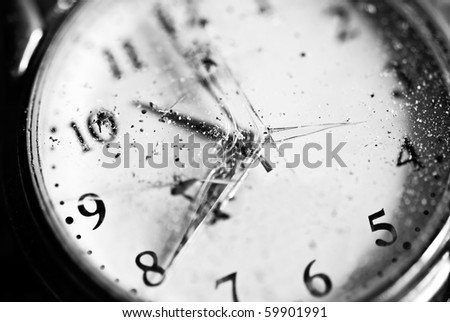 Watch. Old pocket clock with broken glass - stock photo
