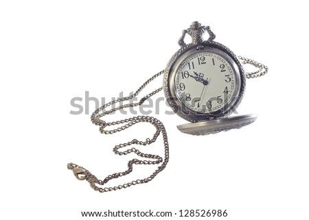 watch on a chain with open lid isolated in white background