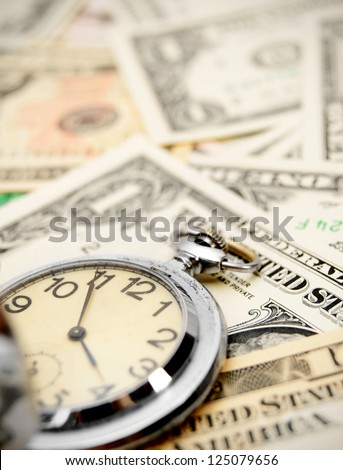Watch on dollars. - stock photo