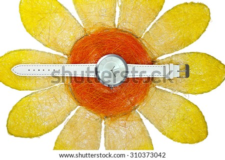 Watch on sunflower - stock photo