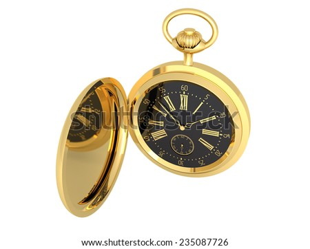 Watch sixty seconds gold pocket vintage isolated illustration  - stock photo