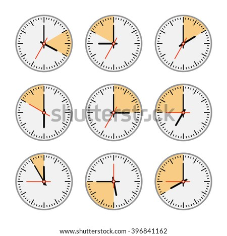 Watch the arrow. Set clock with the timer. A set of movements. Conceptual image of the clock. Time intervals. The length of time to perform business tasks. time clock - stock photo