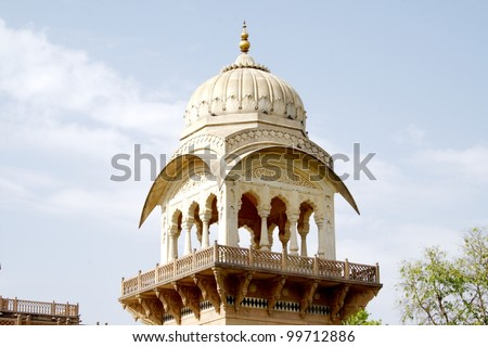 Watch tower at Albert Hall, Jaipur. Albert Hall is located in the Ram Niwas Garden in Jaipur. It houses the central Museum. - stock photo