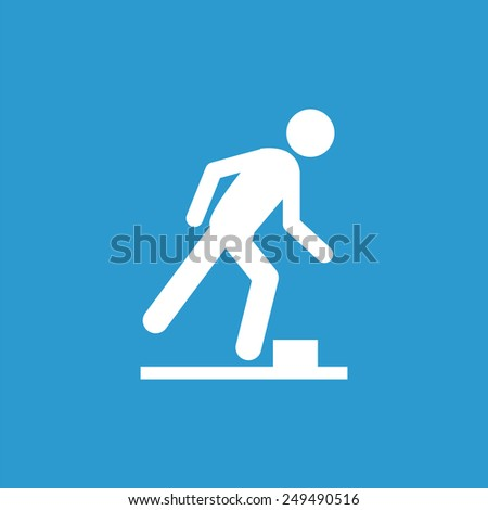 watch your step outline icon, isolated, white on the blue background. Exclusive Symbols  - stock photo
