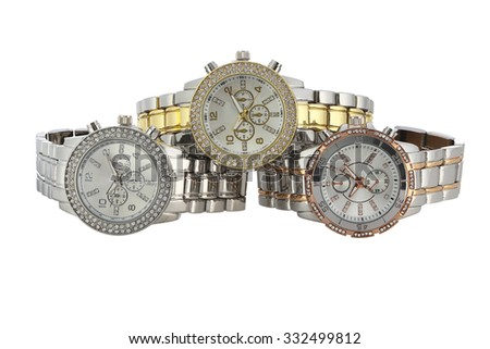 watches on a white background - stock photo