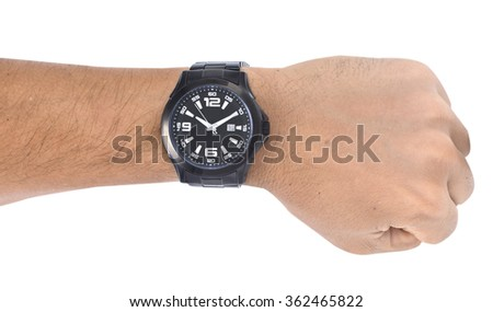 watches on men arms - stock photo
