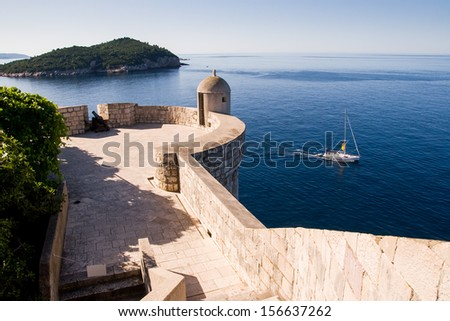 Watching spot on Dubrovnik's city wall. Dubrovnik old city walls served as film sets of the Game of Thrones HBO TV series. - stock photo