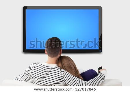 Watching tv. - stock photo