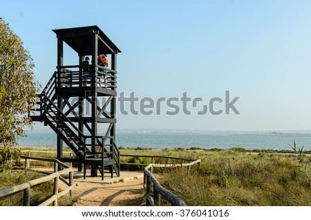 watchtower in the lagoon - stock photo