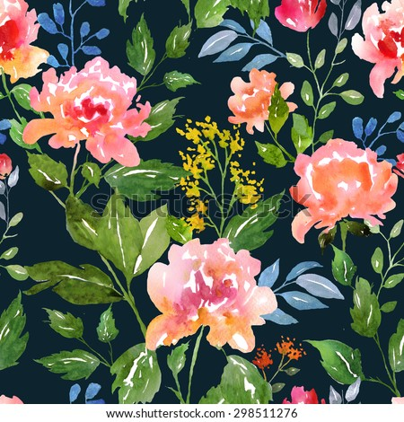 Wate?color floral pattern and seamless background. Work path included.  Ideal for printing onto fabric and paper or scrap booking. Hand painted. Raster illustration. - stock photo