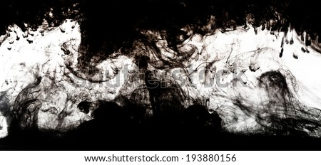 water and black ink lines on white - stock photo