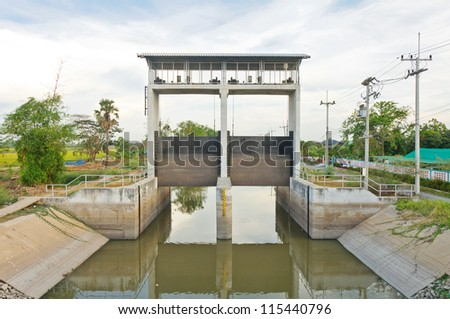 Water and dam gate in an irrigation canal, countryside of Pathumtanee, Thailand - stock photo
