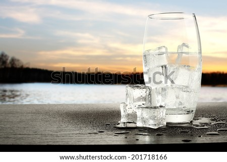 water and ice  - stock photo