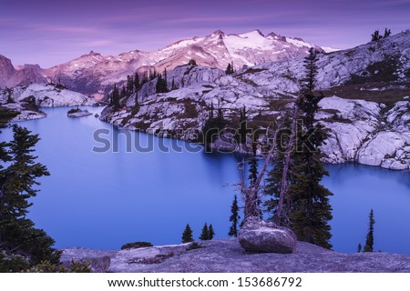 water and mountain in a majestic colors - stock photo