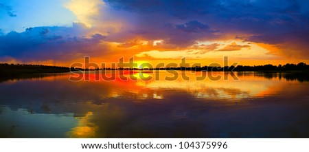 water and sunset view - stock photo