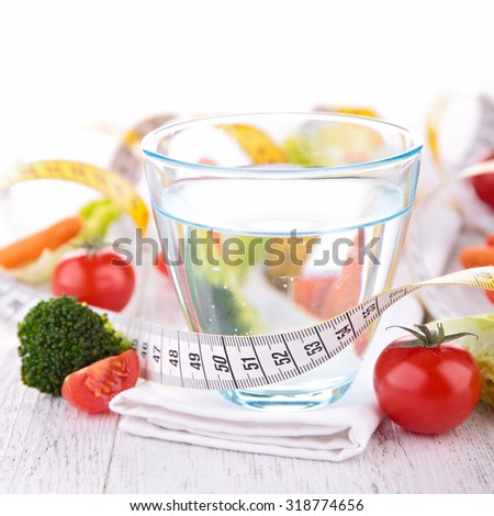 water and vegetable for diet concept