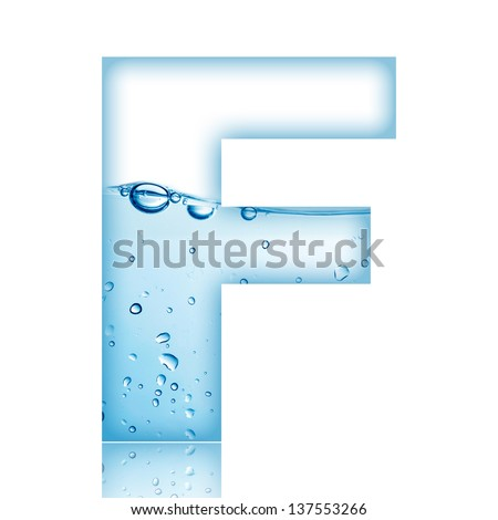 Water and water bubble alphabet letter. Letter F - stock photo