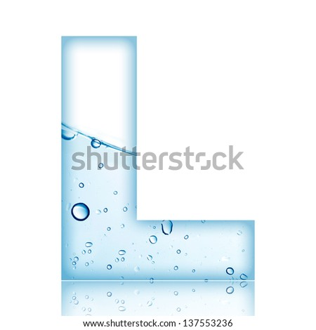 Water and water bubble alphabet letter. Letter L - stock photo