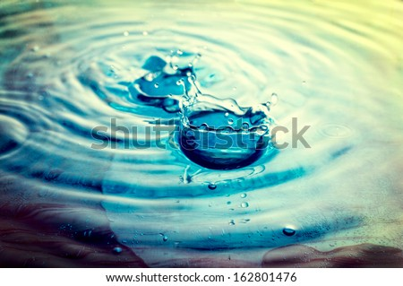 Water background with the rain drops  - stock photo