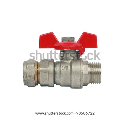 Water ball valve isolated on white with clipping path