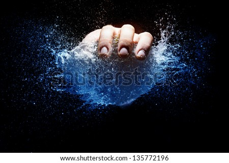 Water balloon explosion after punctuation - stock photo