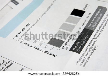 water bill  closeup - stock photo