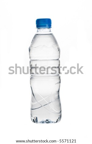Water bottle against white background - stock photo