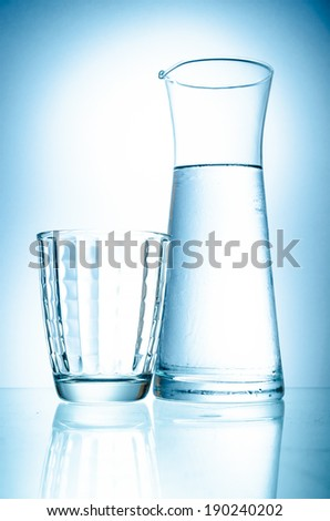 water-bottle and glasses  isolated on a white background