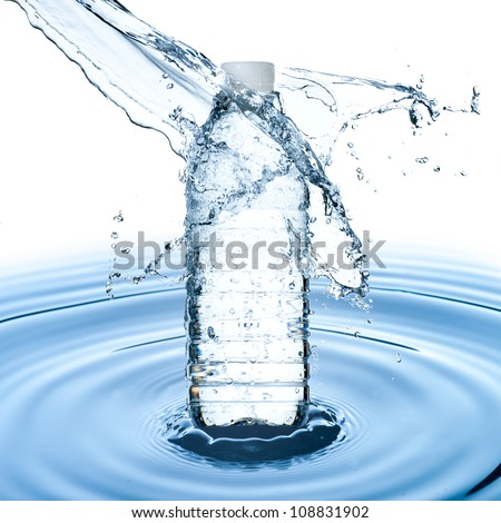 Water bottle and water splash on water ripple