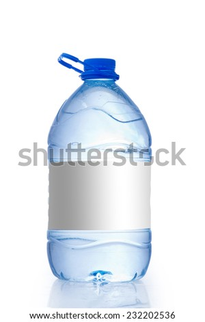 Water bottle Gallon with an empty Tag isolated on white background - stock photo