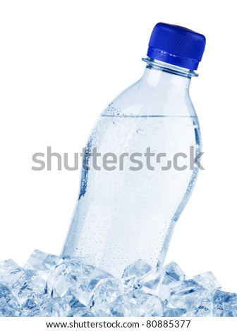 Water bottle in ice, isolated on white background - stock photo