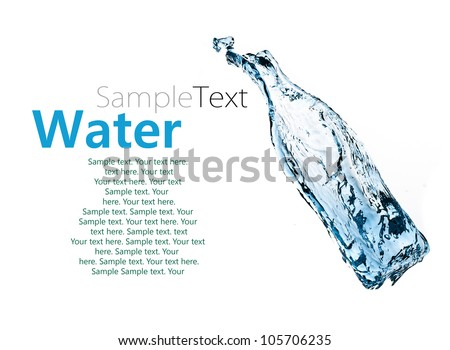 water bottle isolated on white background with sample text