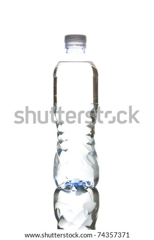 water bottle isolated on white shot in high key copy space in center of bottle with reflection - stock photo
