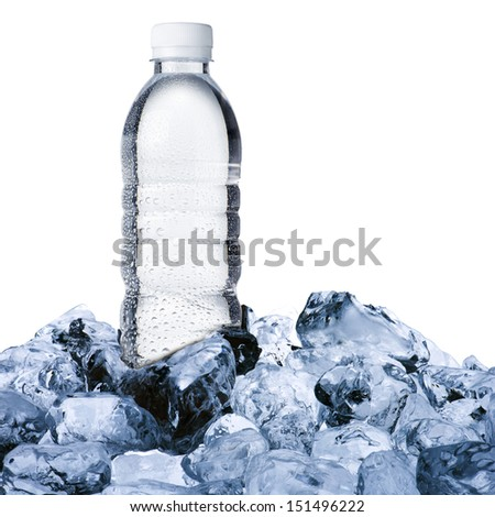 Water bottle on ice cube - stock photo